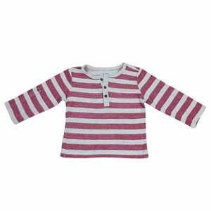 4/$30* George Toddler Boys Gray & Red Stripe Long Sleeve T-Shirt Size 3T